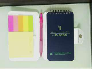 Notebook with pen 、 post it & memo pad 記事簿內有筆 、告事貼 及 便利貼