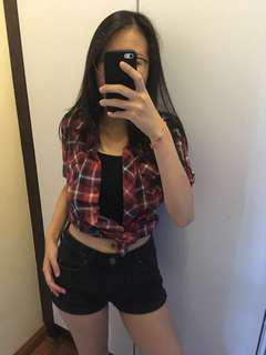 Red Checkered Top Blouse Shirt