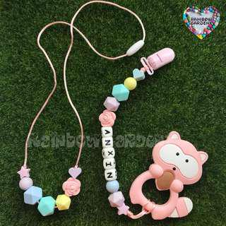 Customised Mummy Beads necklace & Baby Pacifier Clip with Pink Raccoon teether