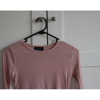 TOPSHOP Pink Long Sleeve Top