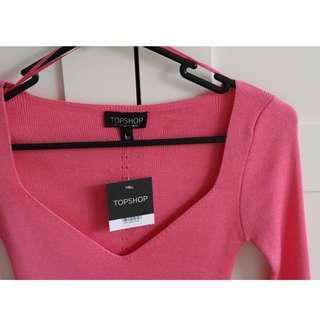 TOPSHOP Long Sleeve Pink Jumper Knit