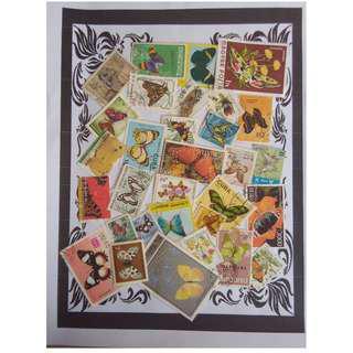 Themed stamps Butterflies 30 pcs BM16