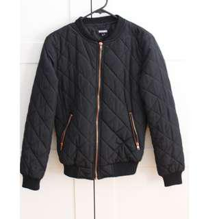 MissGuided Bomber Jacket Black Quilted
