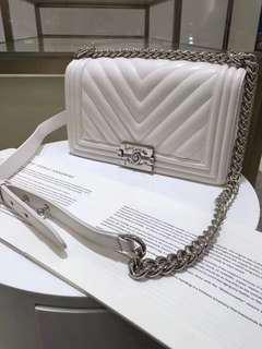 Chanel le boy - white - lamb skin