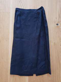 Vintage Valentino Navy Linen Skirt