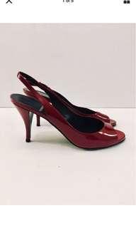 Designer PIERRE HARDY Woman's Kitten Heel Sling Back In Red Size 37 1/2 US 7.5