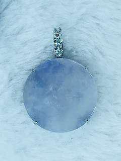 18K白金鑲鑽石紫翡翠鏡吊咀