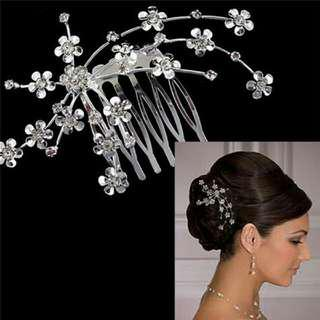 WEDDING RHINESTONE SILVER FLOWER CLIP HAIR COMB HEAD ACCESSORY ONHAND