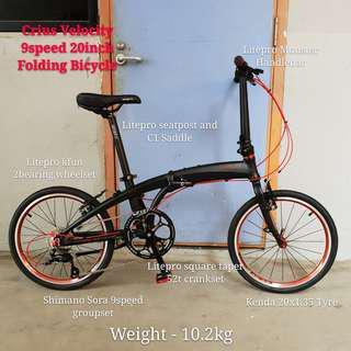 Crius Velocity 9speed 20inch Folding Bicycle