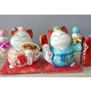 CLEARANCE! 金石工坊 japan couple lucky cat (20cm)
