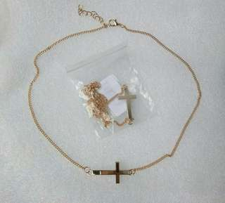 (2for130)Silver/Gold Alloy Chain cross necklace