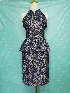 Doublewoot Dark Blue Lace Peplum Dress (XL)