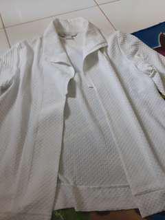 Outer cardigan blazer putih