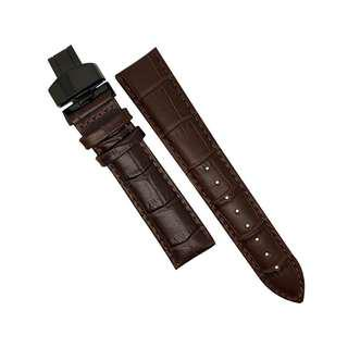 GENUINE BROWN LEATHER WATCH STRAP IN BROWN STITCHING WITH BLACK DEPLOYANT CLASP (20MM)