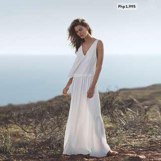 MANGO White Crossback Maxi / Long Dress Beach Wedding Small Semi Medium