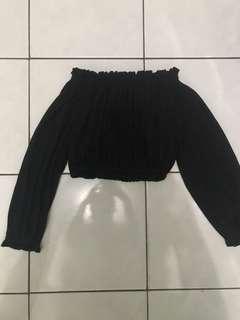 Sabrina Crop Top Sweater Black