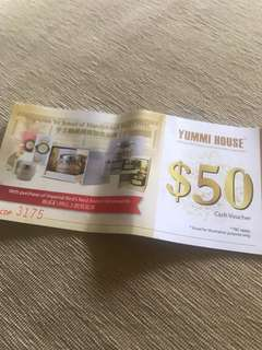🚚 Yummi house $50 rebate voucher