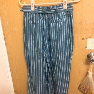藍色條紋寬褲