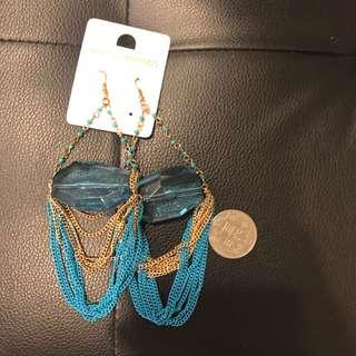 🚚 歐美藍色垂釣式大耳環