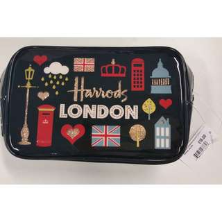 Brand New Harrods Glitter London Square Cosmetic Bag