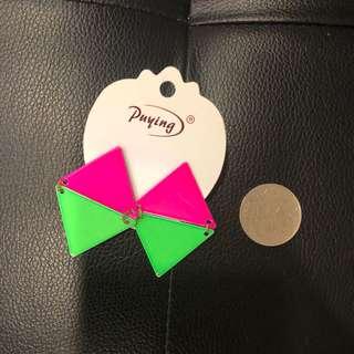 🚚 歐美螢光色系幾何圖形耳環