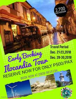3d2n EARLY BOOKING ILOCANDIA TOUR