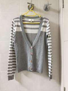 Preppy grey white stripes cardigan