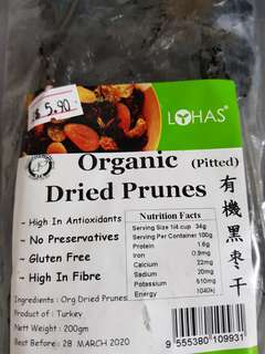 Organic Pitted Prunes! Loaded with health benefits, $5.90. High in Antioxidants, no preservatives, gluten free, high in fibre