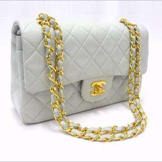 (Hold) Chanel Baby Blue 2.55 Flap Vintage Handbag With Golden Chain