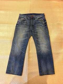 Uniqlo 水洗刷色 直筒牛仔褲 單寧 GU