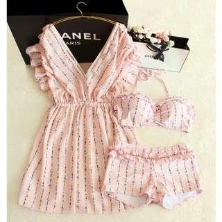 set 3 pcs bikini dress mini ruffle baju renang outer wanita murah bra