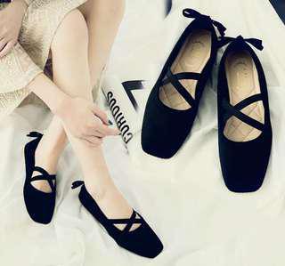 🚚 全新黑色娃娃鞋 芭蕾舞鞋造型