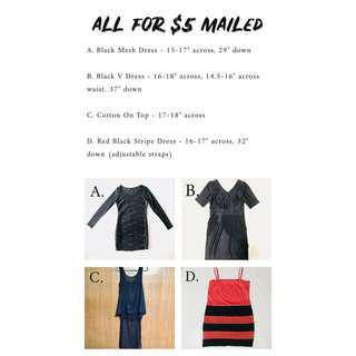 ALL FOR $5 MAILED - Black Mesh Dress, V dress, Black Cotton On Top, Red Stripe Dredd