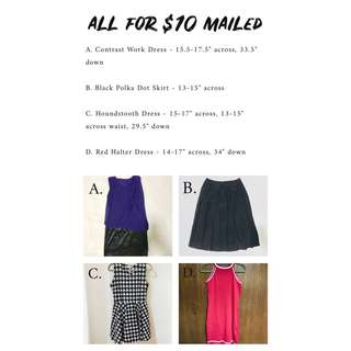 ALL FOR $10 MAILED - Contrast Dress, Pleated Black Polka Skirt, Houndstooth Dress, Red Halter Dress