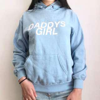 LIGHT BLUE GRAPHIC HOODIE TOP
