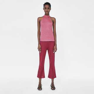 ZARA Knit Halter Top Zara Checkered Top Small Zara Top Small