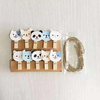 Wooden clip mascot cat panda bear jepitan kayu