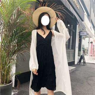 🚚 (全新) 韓 夏季薄款長版針織防曬衫(百搭白)