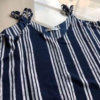 🚚 韓 直條紋雙層設計細肩帶背心(深藍)