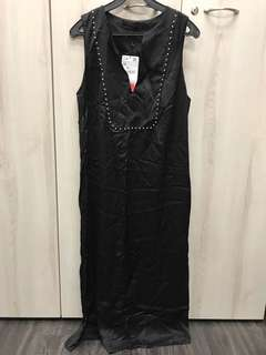 Zara Woman Long Black Dress with Silver Studs