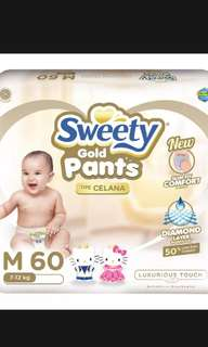 pampers sweety gold size M 60pcs