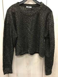 Zara Black-Gold Glitter Long Sleeves Top