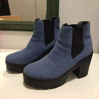 TOPSHOP Navy Blue Suede Platform Colourblock Boots