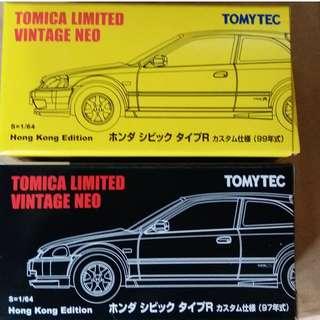 TOMICA LIMITED VINTAGE NEO 1/64 1999 HONDA CIVIC TYPE-R EK9 (HONG KONG EDITION)一對