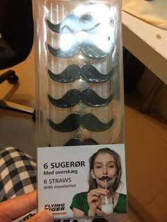 Straws with moustaches