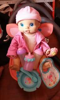 Authentic Baby Alive Doll, Baby Chair and Accessories