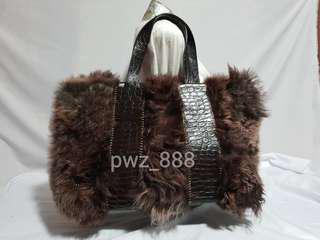 Authentic FALOR Fur and Croc Leather Tote Bag