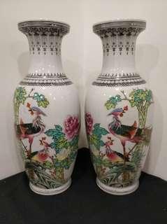 景德鎮 麻邊 粉彩 錦雞 花鳥 花瓶一對 花樽 瓷器 vase 高12吋