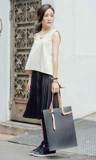 黑色薄針織百褶半身裙