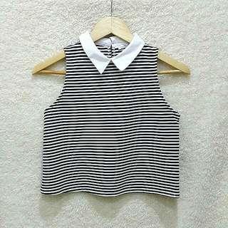 Zara Black & White Collared Top